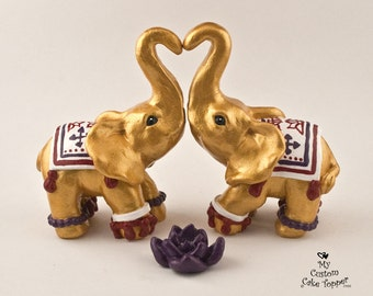 Decorated Elephants Wedding Cake Topper