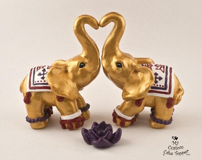 Decorated Elephants Wedding Cake Topper
