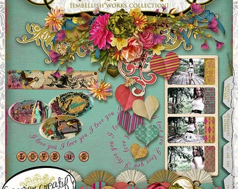 Papier Romantique by Papier Creatif - Shabby Chic Romantic Digital Scrapbook Kit