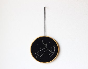 "Custom zodiac sign - Zodiac constellation - Embroidery in wooden hoop 5"" - Minimal - Gift idea - Wall decoration - Black and white - Wedding"