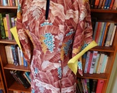HAWAIIAN TOGS--Gorgeous 1940s 1950s Silky Rayon Pake Muu Hawaiian Dress--S,M