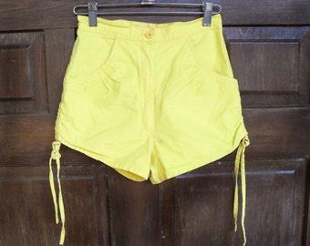 Yellow High Waist Short Shorts Neon Hot Pants Vintage 1980s / 1970s