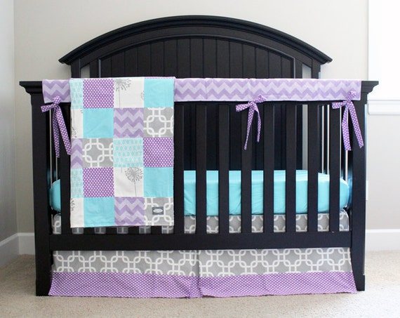 purple aqua and grey baby girl crib bedding by gigglesixbaby. Black Bedroom Furniture Sets. Home Design Ideas