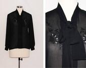 Vintage Sheer Black Embroidered Ascot Blouse