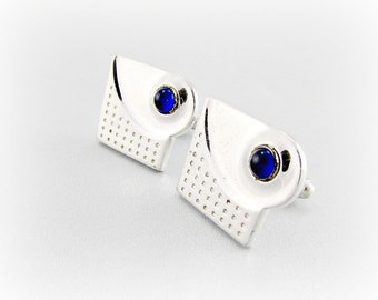 Vintage ANSON Cuff-Links, Modernist Silver Cuff-Links, Royal Blue Glass Bullets, Unique Cool Mens Jewelry, 1960s Mens Vintage Jewelry