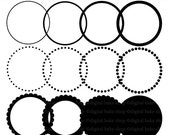 digital frames clipart scalloped circle clip art labels tags - Circle Frames