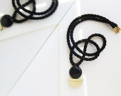 NEW - Onyx, handmade brass piece and black rope necklace