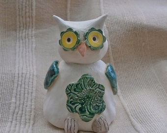 Ceramic Owl figurine - white and green with flower