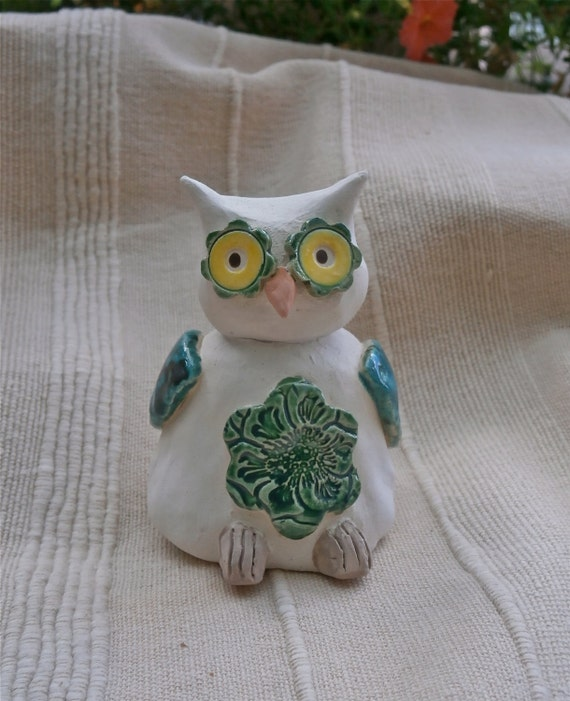 Ceramic Owl Figurine White And Green With By