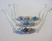 Pod Bracelet - pea pod - birthstone - sideways - mother - grandmother - sister - pearls - crystals - sterling - gift