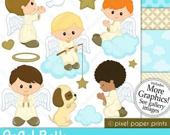 Angel Boys - Digital paper and clip art set