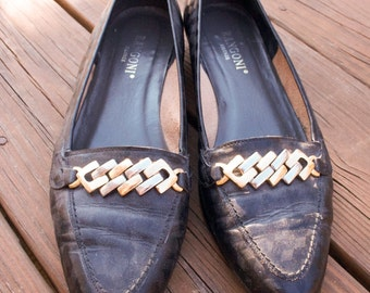 Black Leather Loafers, Chain Link, Gucci, Italian, Flats, 90s, 8.5