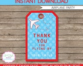Airplane Favor Tags - Thank You Tags - Birthday Party Favors - INSTANT DOWNLOAD with EDITABLE text template - you personalize at home