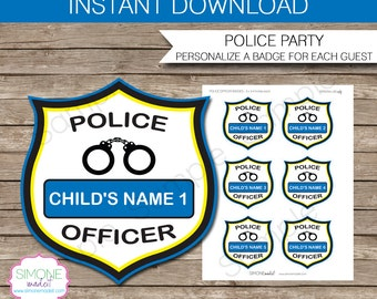 Police Officer Badges - Police Birthday Party - INSTANT DOWNLOAD and EDITABLE template - type your own text in Adobe Reader
