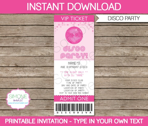 Disco Ticket Invitation Template Birthday Party INSTANT – Printable Ticket Invitations