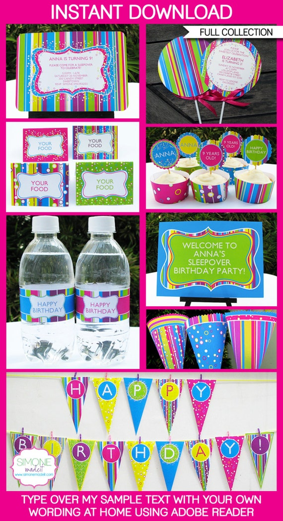 Candyland Party Invitations & Decorations - full Printable Package - INSTANT DOWNLOAD with EDITABLE text - you personalize at home