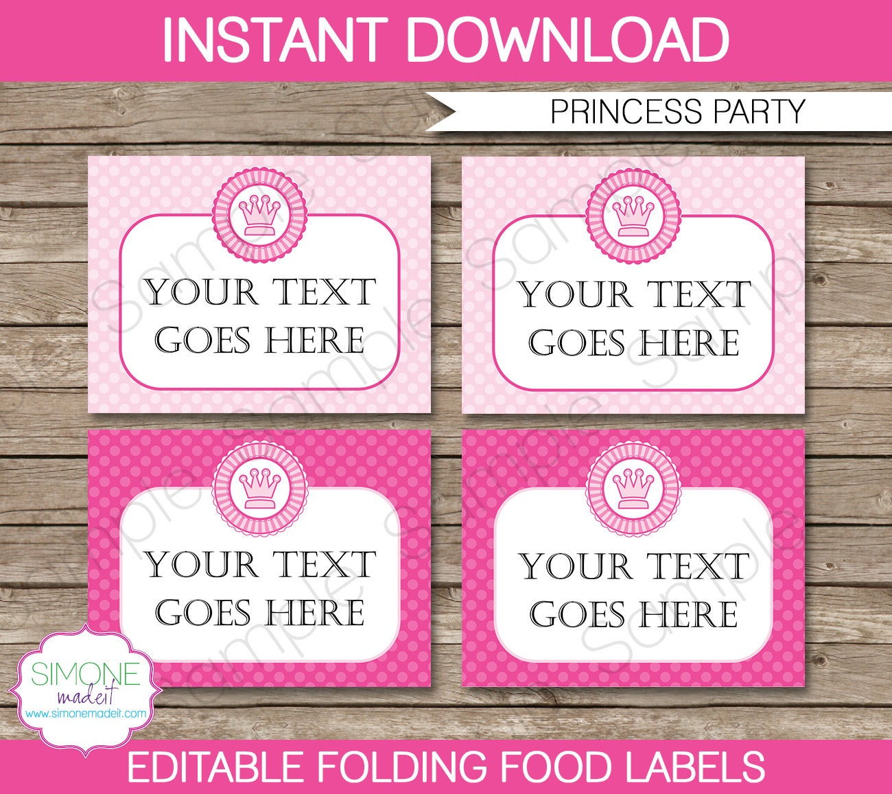Princess Food Labels Buffet Tags Tent Cards By SIMONEmadeit