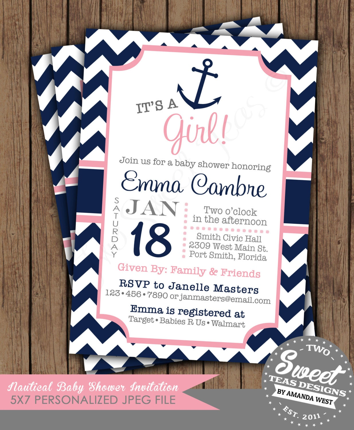 Nautical Baby Shower Invitations Etsy with good invitation layout