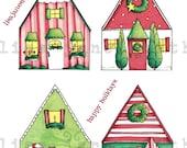 Christmas gift tags download pdf diy christmas holiday houses tags