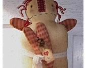 Primitive Grungy Folk Art Cupboard Raggedy Ann Annie Angel Doll Heart Ornie