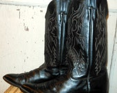 Black Justin Cowboy Western Boots with Red and White Stitching by Justin Boots size 10D