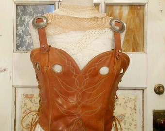 Handmade Leather Cowboy Boot Western Corset and Belt