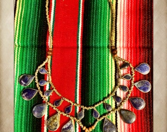 Vintage Afghan Alpaca Lapis Silver Tribal Necklace