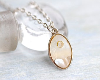 Mother of Pearl Necklace - Mop Moon Pendant - Vintage Jewelry