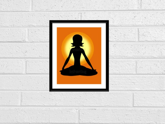 Sunset Yoga Silhouette Print Wall Art Print Wall Decor 8x10 Downloadable Printable Digital Yoga Pose Silhouette Sunset Orange Yellow