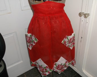 Beautiful Handmade Red Vintage Apron with Hankie Accents