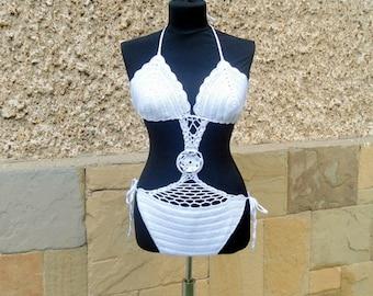 SUMMER SALE White Crochet Swimsuit, Crochet  Swimwear, Swimsuit, Crochet Beach wear, White Cotton Swimwear, Handmade Swimsuit, Ready to ship