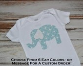 Baby Elephant Onesie - Blue Elephant Onesie - Choose ear color