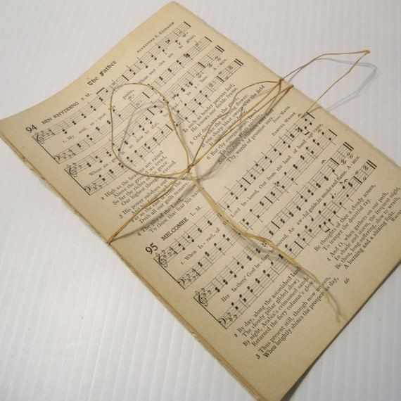 Antique/Vintage Hymnal Pages / Hymnal sheet music bundle / old hymns for paper crafts. Select 25, 50, 75 sheets