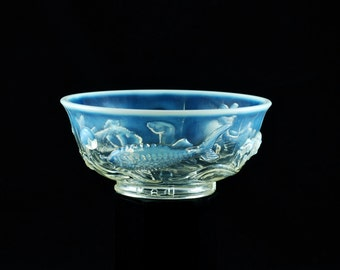 """Vintage Ted Mehrer """"Round Fish Bowl"""" French Opalescent Art Glass Console Centerpiece Bowl"""