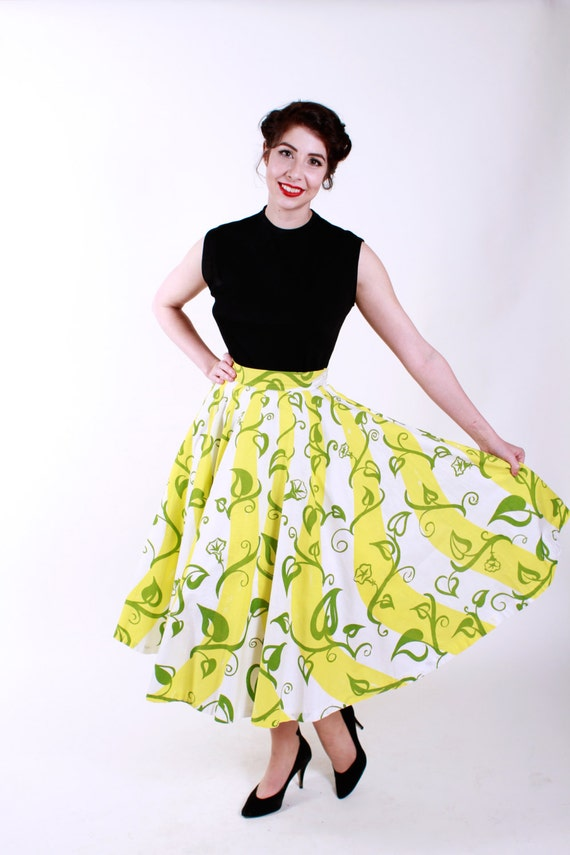 Vintage 1950s Skirt Yellow Green Floral 50s Vintage Full Circle Skirt Size Small