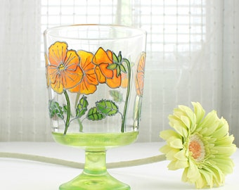 Glass Tea Light Holder, Hand Painted Glass Candle Holder, Tea Light Holder, Glass Home Decoration, Yellow Pansy Design, Glass Candle Holder