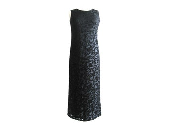 Dress Long Black Sleeveless Burnout Velvet Size Medium