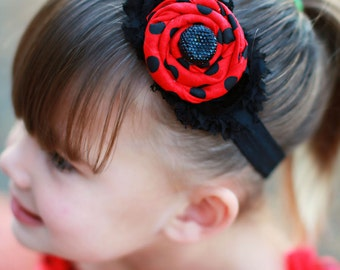 Ladybug, red and black headband, Halloween Inspired Headband, baby girl headband, newborn bow, toddler headband,
