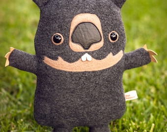 Wombat stuffed animal - Wombat plush soft toy - cute handmade marsupial plushie - kawaii wombat softie
