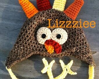 Turkey Crochet Hat PATTERN PDF - easy beanie or earflap hats newborn to adult - Instant Digital Download