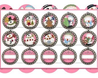 Editable, Snowman, Bottle Cap Images, Christmas Ornaments, Digital Collage Sheet, 1 Inch Circle, Christmas, Snowman, Printable, Pink,