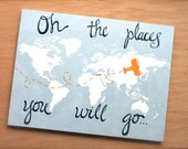 world map on canvas. oh the places you will go. 1- 18x24. custom colors, hand painted original modern nursery map art. airplane. one canvas