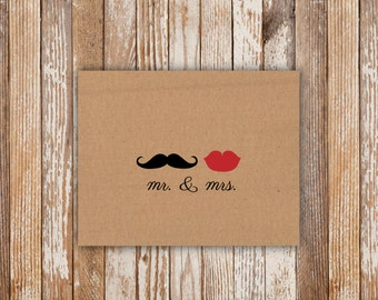 Mr & Mrs Bridal Shower Card - Printable File. Notecard. Thank You. Bridal Shower Thank You Cards. Mustache and Lips