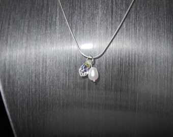 Swarovski and freshwater pearl charm necklace