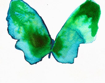 emerald green butterfly original watercolour and ink painting