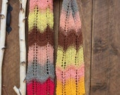Lace Hand Knitted Girl Scarf. Fun Fall Colors of High Quality Cotton Wool NORO Yarn Blend. Ready to Ship.