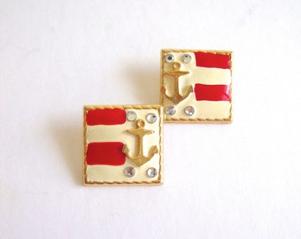 Vintage Anchor Earrings / Sale 75% off / Enamel / Nautical Earrings / Fourth of July / Americana / Flag / Gold
