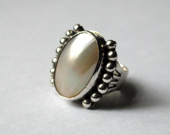 SALE Sterling Silver Mother of Pearl Signed Navajo Ring