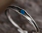 Cavansite Sterling Silver Bangle Bracelet-Hand Sculpted Folded Rough Blue Cavansite Bracelet-Unique Sterling Silver Jewelry