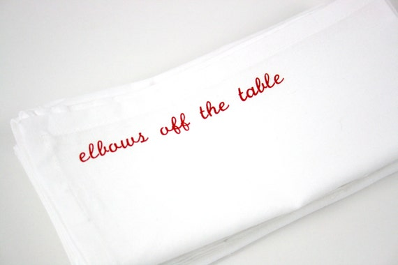 Cloth Dinner Napkins Mind Your Manners set of 8 red screen printed napkins